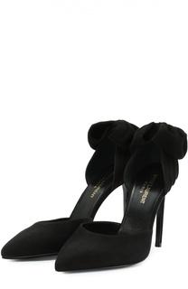 Замшевые туфли Paris Skinny с бантом Saint Laurent