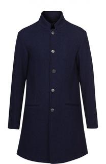 Шерстяное пальто А-силуэта на кнопках Armani Jeans