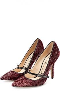Туфли с пайетками и ремешком на шпильке No. 21