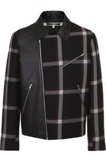 Кожаная куртка с шерстяной отделкой и косой молнией MCQ