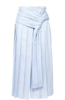 Шелковая юбка-миди в складку с декоративной отделкой Rochas