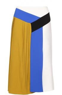 Юбка-миди с контрастной отделкой и плиссированной вставкой Emilio Pucci