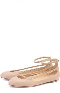 Кожаные балетки Rockstud с ремешком на щиколотке Valentino