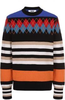 Шерстяной свитер с контрастным узором MSGM