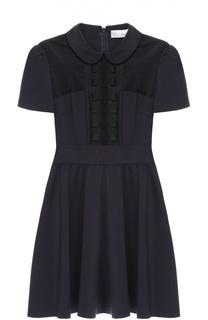 Приталенное мини-платье с коротким рукавом и прозрачной вставкой REDVALENTINO
