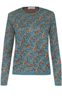 Пуловер прямого кроя с контрастным принтом и круглым вырезом Tak.Ori