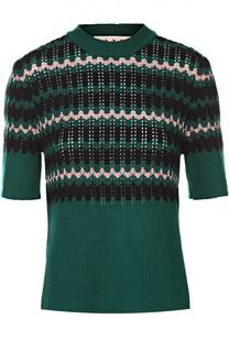 Приталенный пуловер с коротким рукавом и разрезами Marni