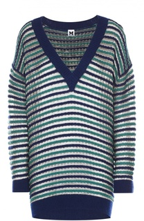 Удлиненный пуловер свободного кроя с металлизированной отделкой и V-образным вырезом M Missoni