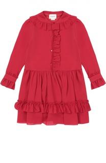 Шелковое платье с оборками Gucci