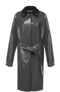 Пальто прямого кроя с шерстяным отложным воротником и поясом Acne Studios