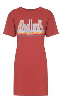 Удлиненная футболка прямого кроя с контрастным принтом Isabel Marant Etoile