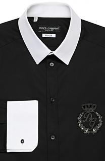 Хлопковая сорочка с вышивкой и контрастными манжетами Dolce & Gabbana