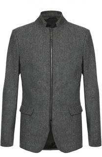 Пиджак из смеси шерсти и шелка на молнии Dirk Bikkembergs