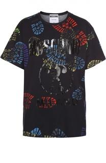 Хлопковая футболка с контрастным принтом Moschino