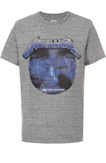 Хлопковая футболка с контрастным принтом Elevenparis