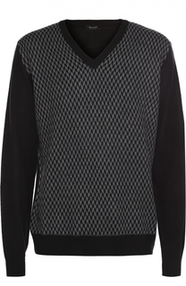 Шерстяной пуловер с контрастным узором Sand