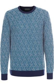 Шерстяной свитер фактурной вязки с контрастной отделкой Daniele Fiesoli