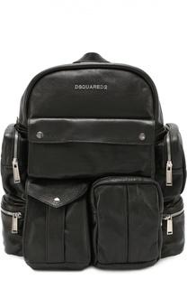 Кожаный рюкзак с внешними карманами на молнии Dsquared2