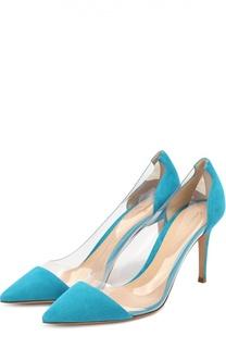 Замшевые туфли Plexi на шпильке Gianvito Rossi