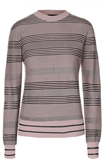 Пуловер прямого кроя в полоску с круглым вырезом Giorgio Armani