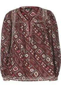 Шелковая блуза свободного кроя с контрастным принтом Isabel Marant