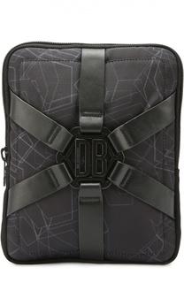 Текстильная сумка-планшет с декоративными кожаными ремешками Dirk Bikkembergs