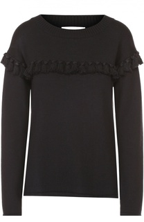 Пуловер прямого кроя с бахромой и круглым вырезом Chloé