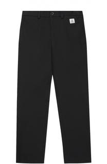 Хлопковые брюки прямого кроя с контрастной нашивкой Dolce & Gabbana