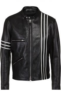 Кожаная куртка на молнии с контрастной отделкой Tom Ford