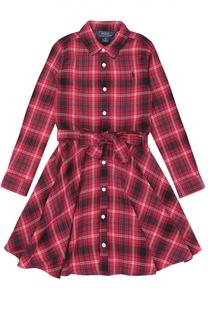 Платье с поясом в клетку Polo Ralph Lauren