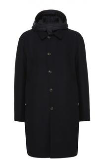 Шерстяное пальто с капюшоном и пуховым утеплителем Moncler