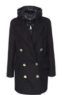 Двубортное пальто с пуховой подстежкой и капюшоном Moncler