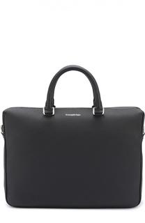 Кожаная сумка для ноутбука с плечевым ремнем Ermenegildo Zegna
