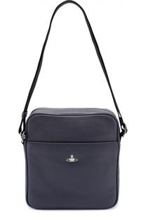 Кожаная  сумка-планшет с внешним карманом Vivienne Westwood
