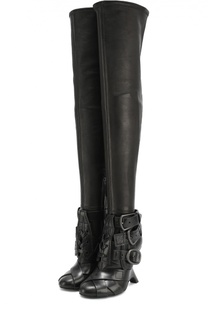 Кожаные ботфорты с декоративными ремешками Tom Ford
