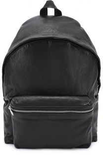 Кожаный рюкзак с вешним карманом на молнии Saint Laurent