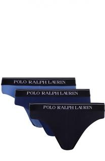 Комплект из трех хлопковых брифов с широкой резинкой Ralph Lauren