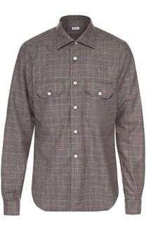 Шерстяная рубашка в клетку с воротником кент Kiton