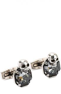 Запонки в виде черепа с кристаллами Swarovski Alexander McQueen