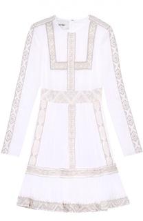 Приталенное мини-платье с вышивкой бисером и длинным рукавом Valentino