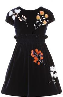 Бархатное мини-платье с меховой отделкой и завышенной талией Fendi