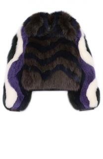Укороченная шуба из меха лисы с контрастной отделкой Fendi