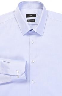 Хлопковая сорочка с воротником кент BOSS