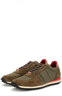 Замшевые кроссовки с текстильной отделкой Burberry