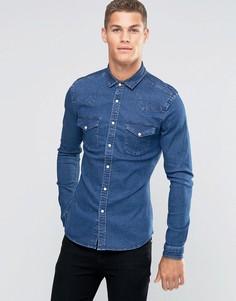 Темная джинсовая рубашка скинни плотностью 11 унций ASOS - Синий