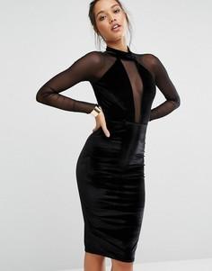 Бархатное платье миди с горловиной-чокер и сетчатыми рукавами Missguided - Черный
