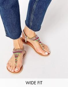 Сандалии на широкую ногу с цветными бусинками New Look - Мульти