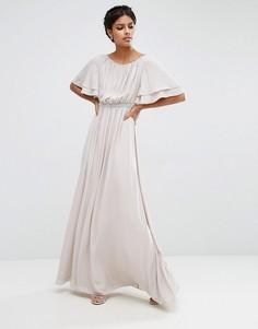 Платье макси с рукавом-бабочка и отделкой на талии ASOS - Серый