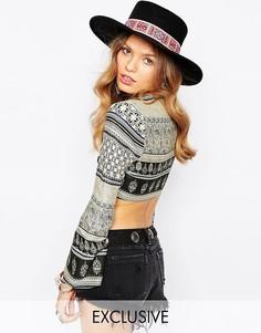Шляпа с широкими полями и вышивкой Catarzi Matador - Черный