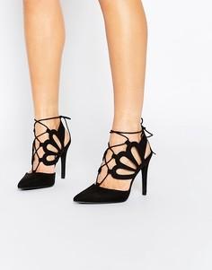 Туфли на каблуке с вырезами и завязками New Look - Черный